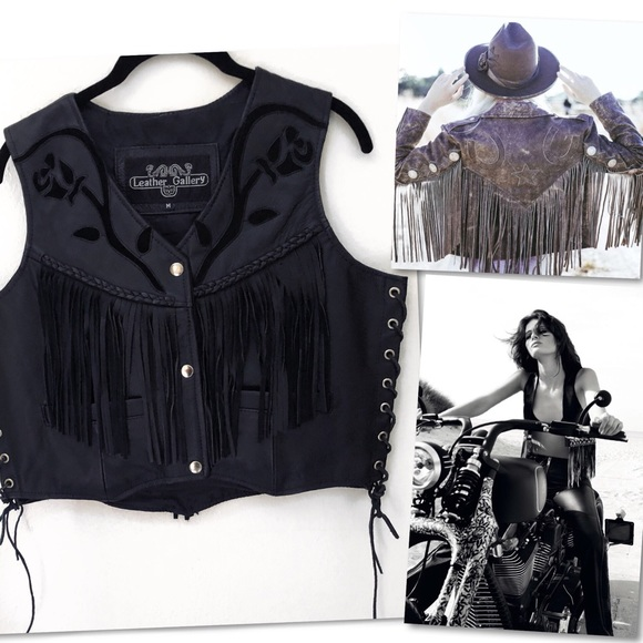 Leather Gallery Jackets & Blazers - LEATHER GALLERY FRINGE WESTERN MOTORCYCLE VEST M